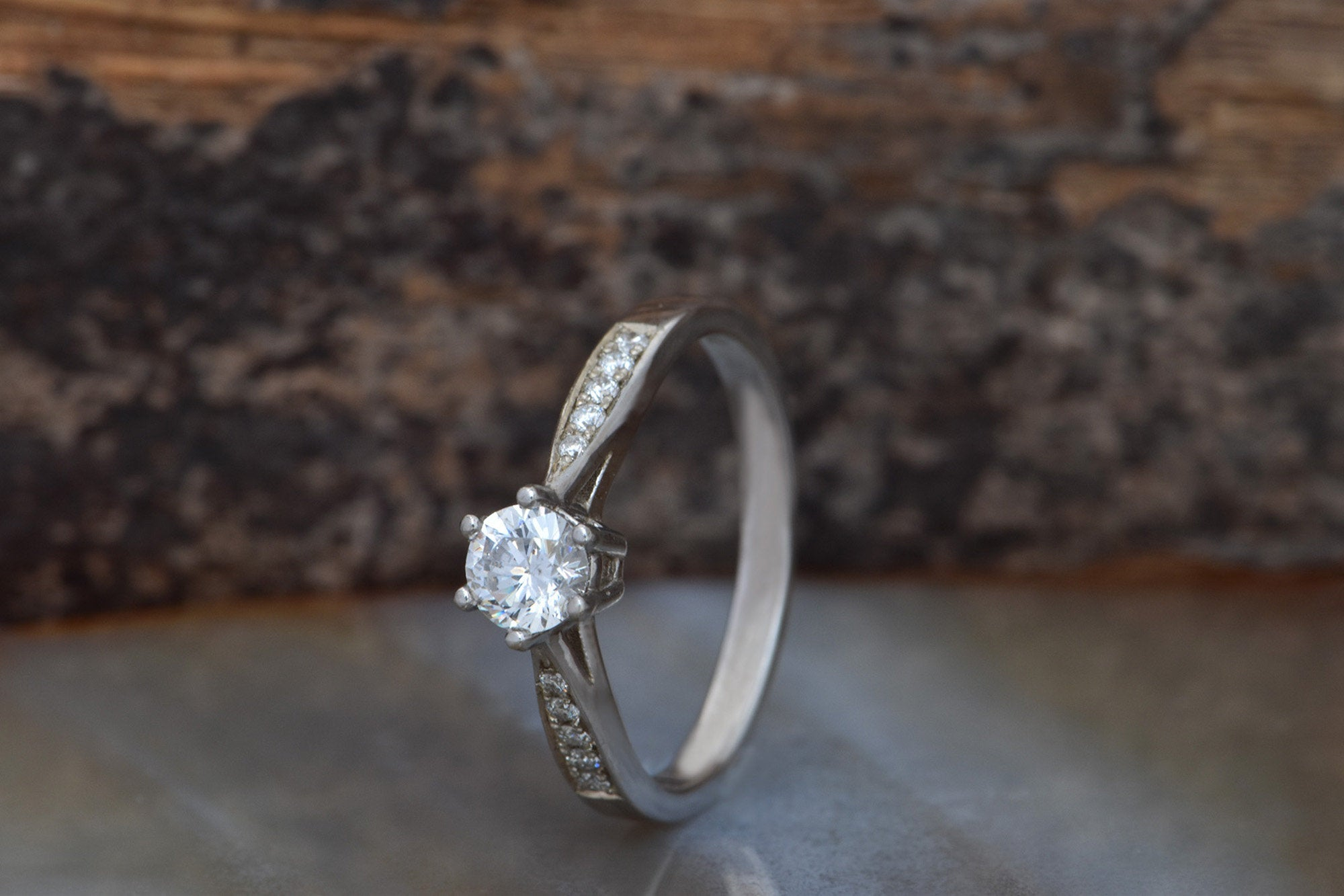 Art deco Engagement Diamond Ring 0.40 carat-Solitaire ring-White Gold Ring-Women Jewelry-Promise ring - SevenCarat