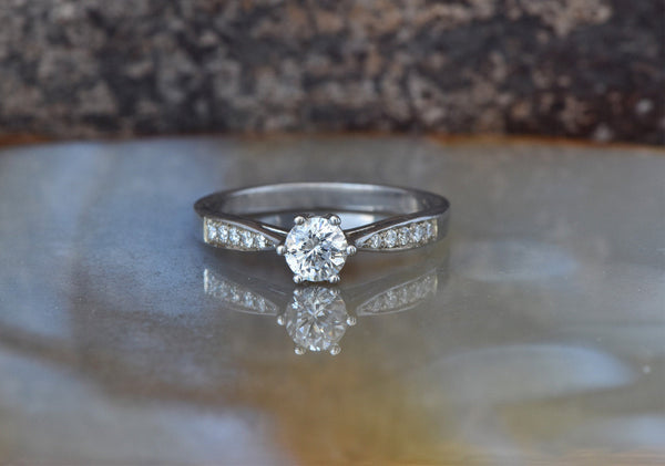Art deco Engagement Diamond Ring 0.40 carat-Solitaire ring-White Gold Ring-Women Jewelry-Promise ring