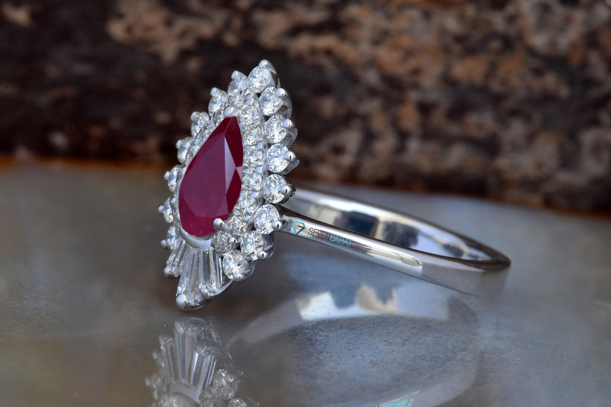 Pear Cut Ruby Ring white gold -Ruby engagement ring rose gold-Halo Gatsby ruby diamond ring-estate engagement ring - SevenCarat