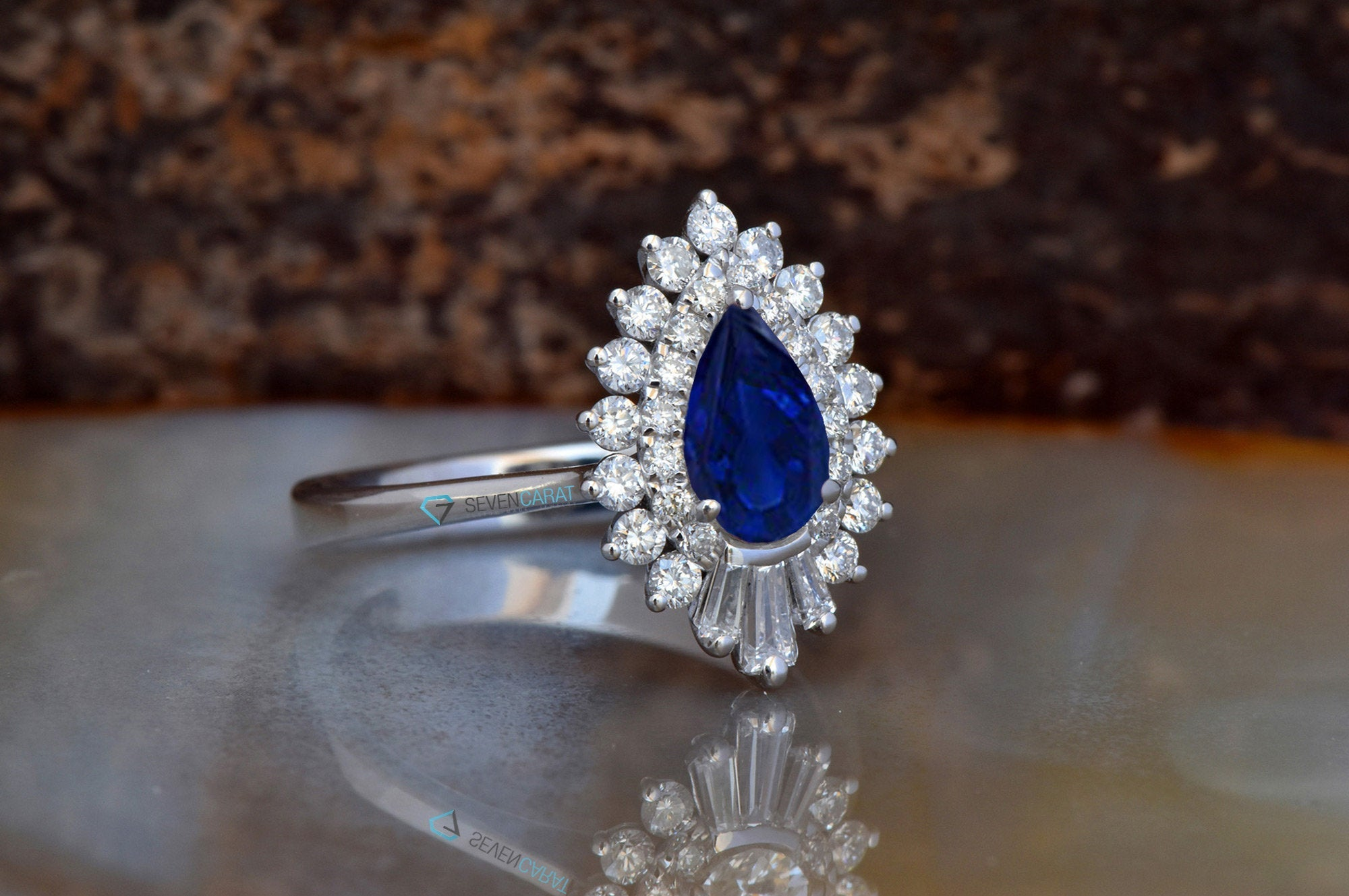 Gatsby Sapphire  engagement ring vintage-14K white Gold-Pear shaped diamond engagement ring-Art deco ring - SevenCarat
