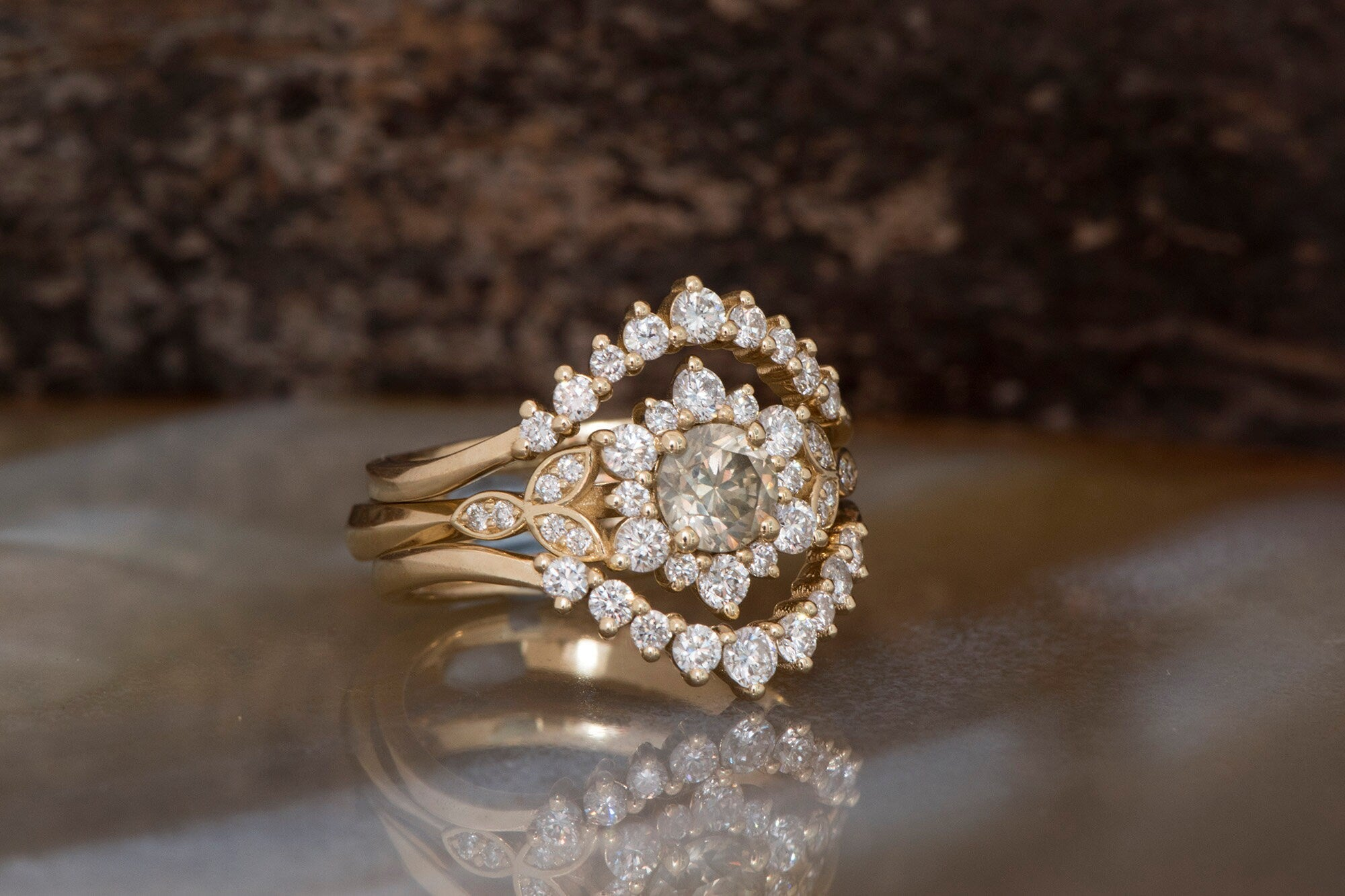 1.60 carat Gatsby Diamond Engagement Ring Flower wedding ring set-Art deco wedding set-Bridal set ring - SevenCarat