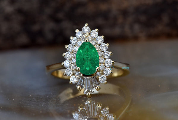Pear emerald ring -Pear Cut Emerald Engagement Ring-Green Emerald engagement ring yellow gold-Gatsby Diamond Engagement Ring - SevenCarat