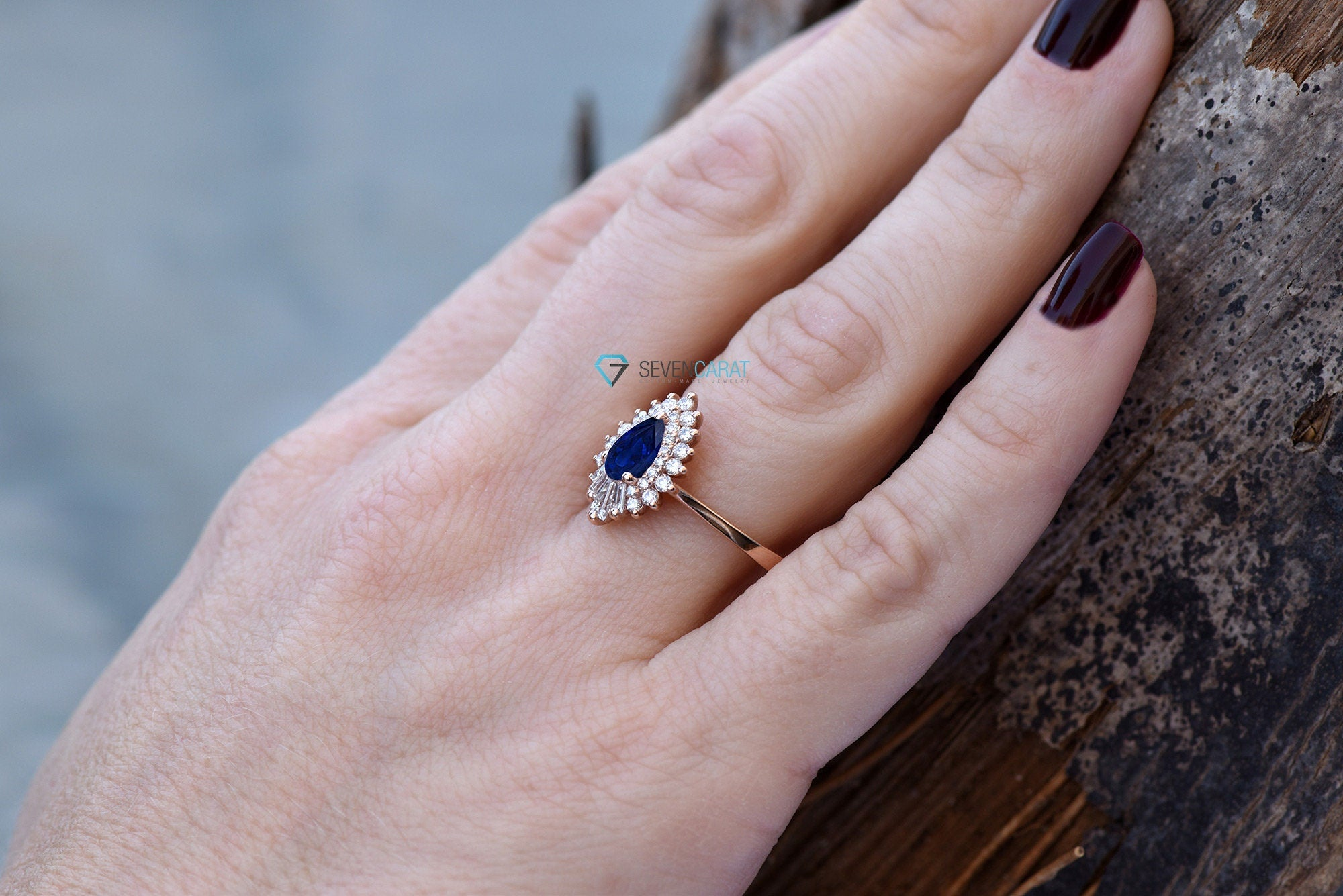 Unique engagement ring-Pear cut sapphire ring in Rose gold -Unique sapphire ring-Promise ring-Custom Rings - SevenCarat