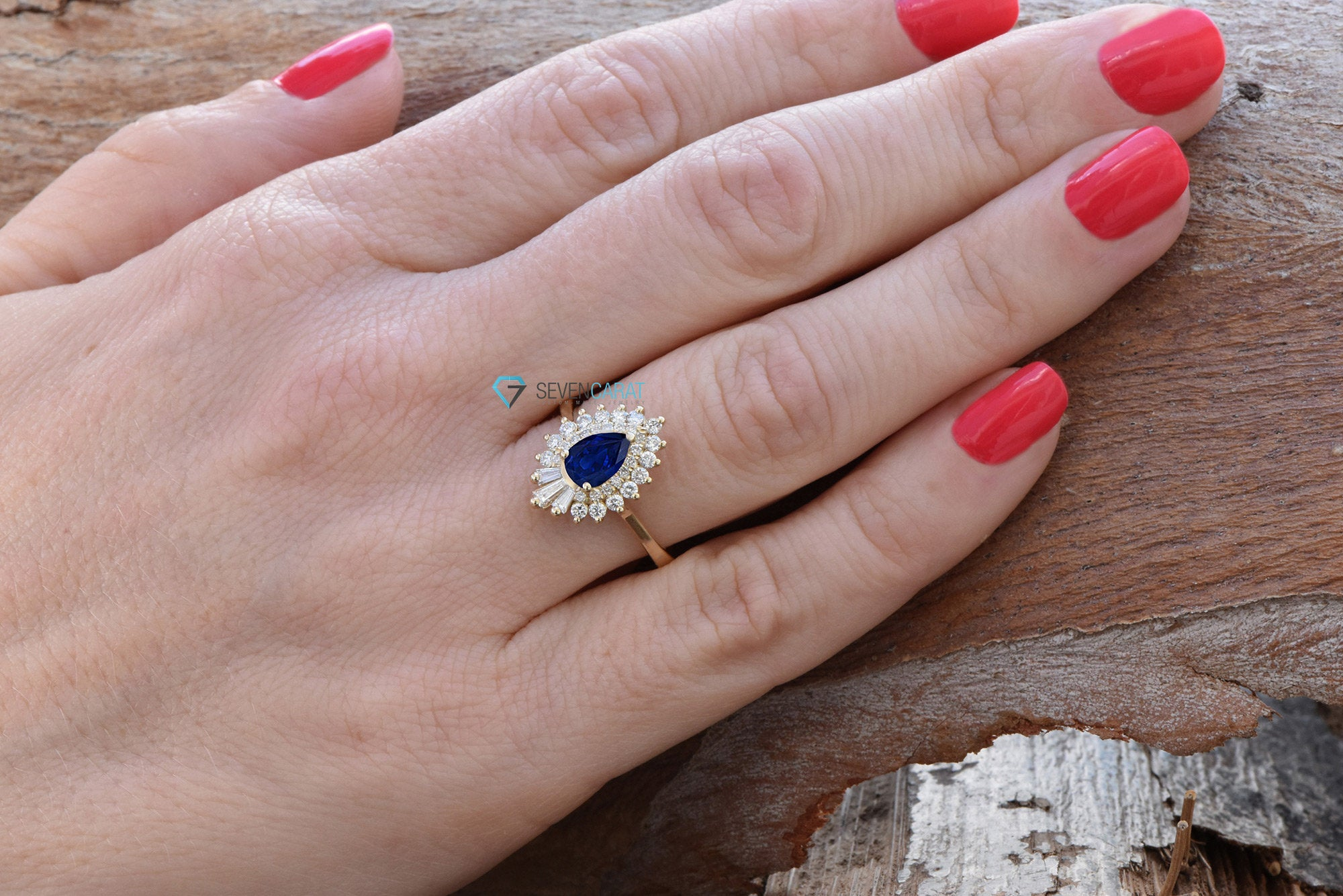 Sapphire engagement ring vintage-14K Yellow Gold-Pear shaped diamond engagement ring-Promise ring-Baguette diamond ring - SevenCarat