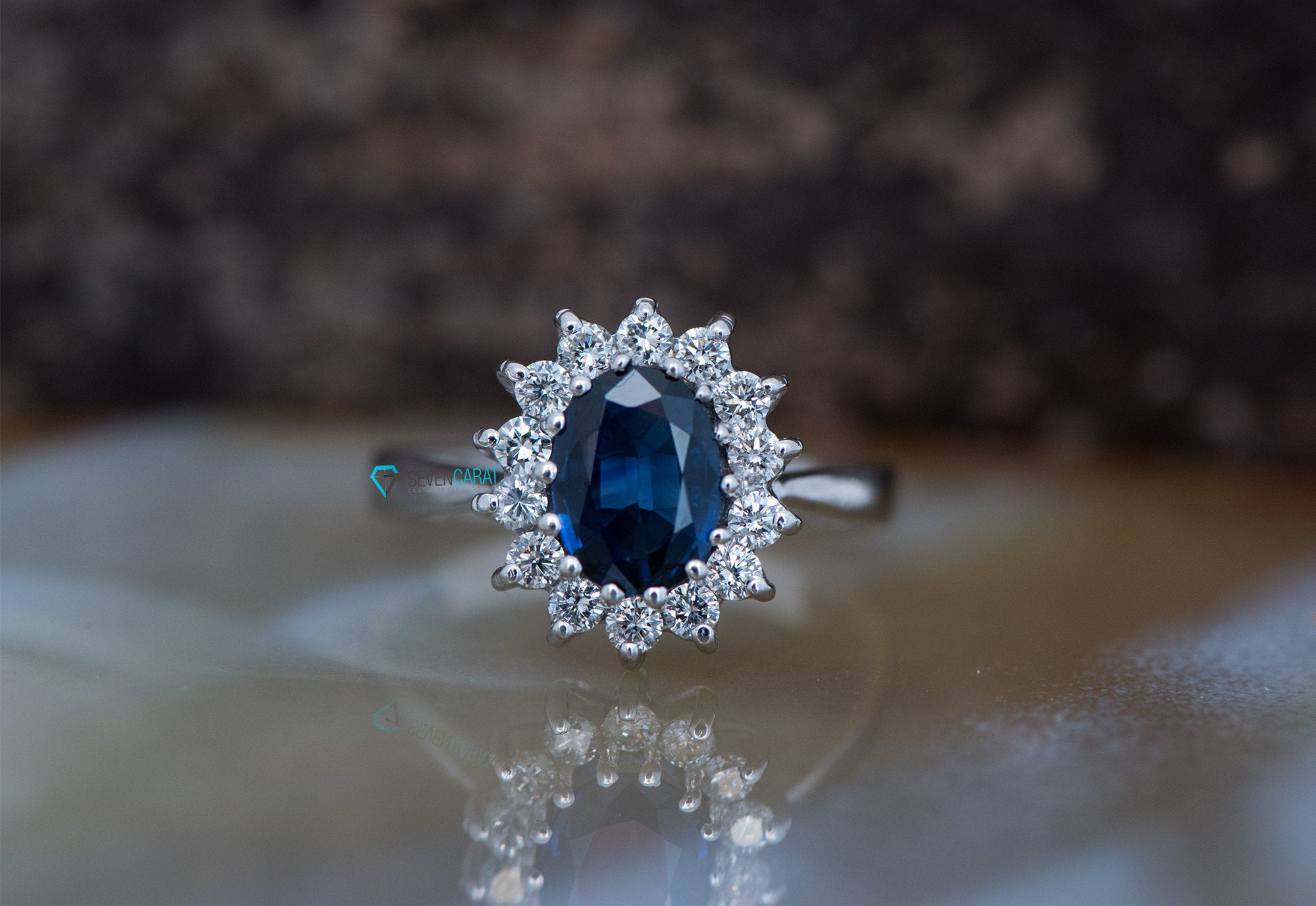 Natural blue sapphire engagement ring-Blue Sapphire Engagement Ring-Oval vintage ring-Oval engagement ring-Promise ring - SevenCarat