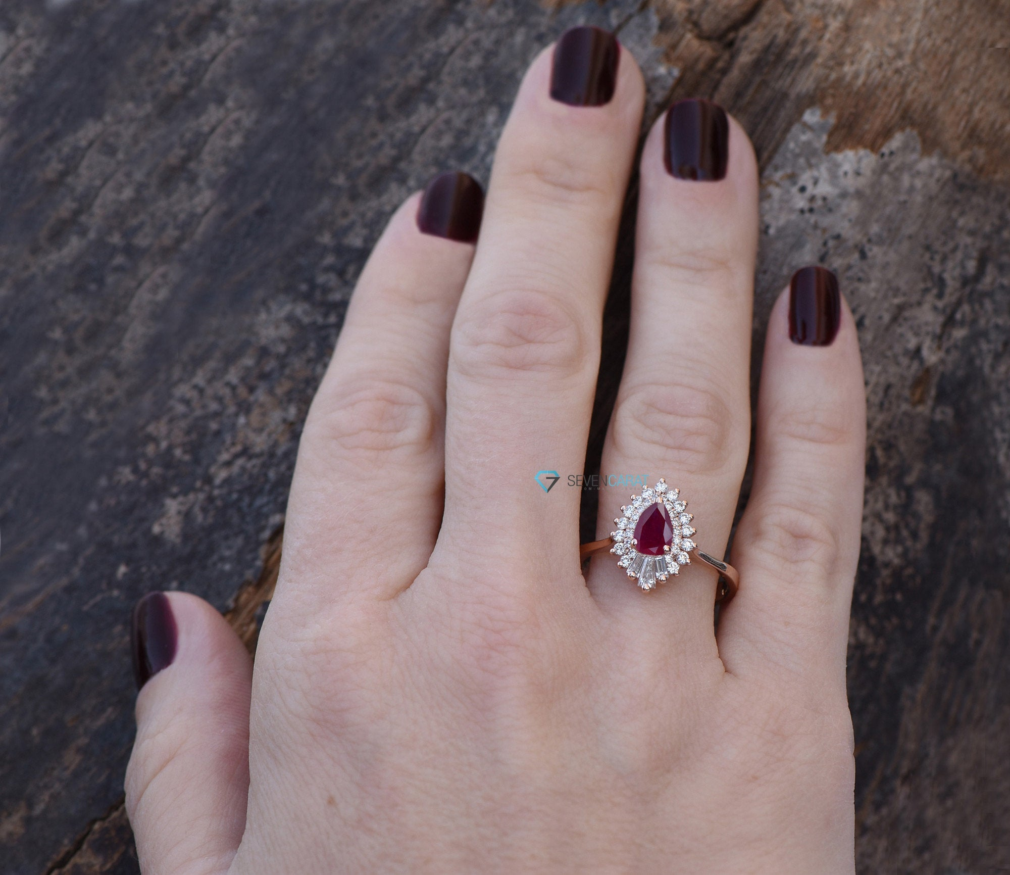 Pear Cut Ruby Engagement Ring-Ruby engagement ring rose gold-Halo Gatsby ruby diamond ring - SevenCarat