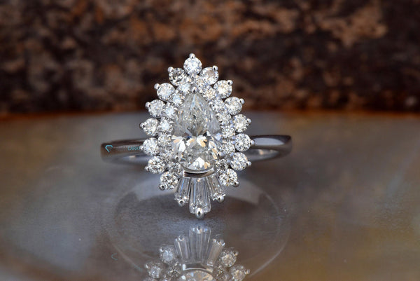Vintage  Diamond engagement ring -Promise ring-Pear shaped diamond engagement ring 1.20 ct-Double Halo Engagement Ring-Baguette ring