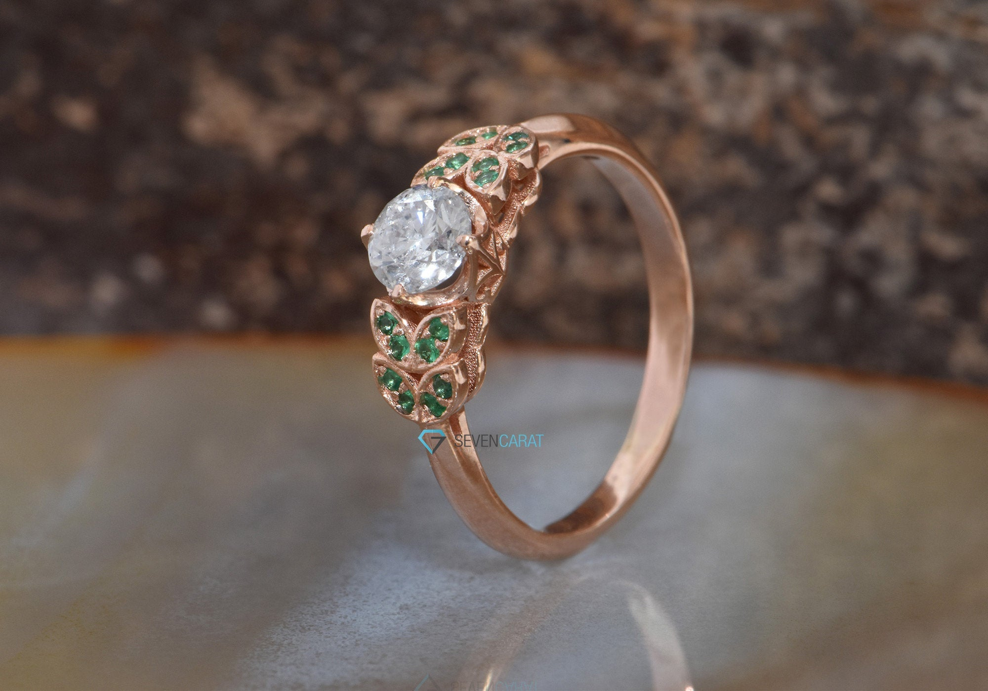 Art deco Engagement Ring-leaves engagement ring diamond-Diamond leaf ring-Rose Gold Ring -Unique diamond ring - SevenCarat