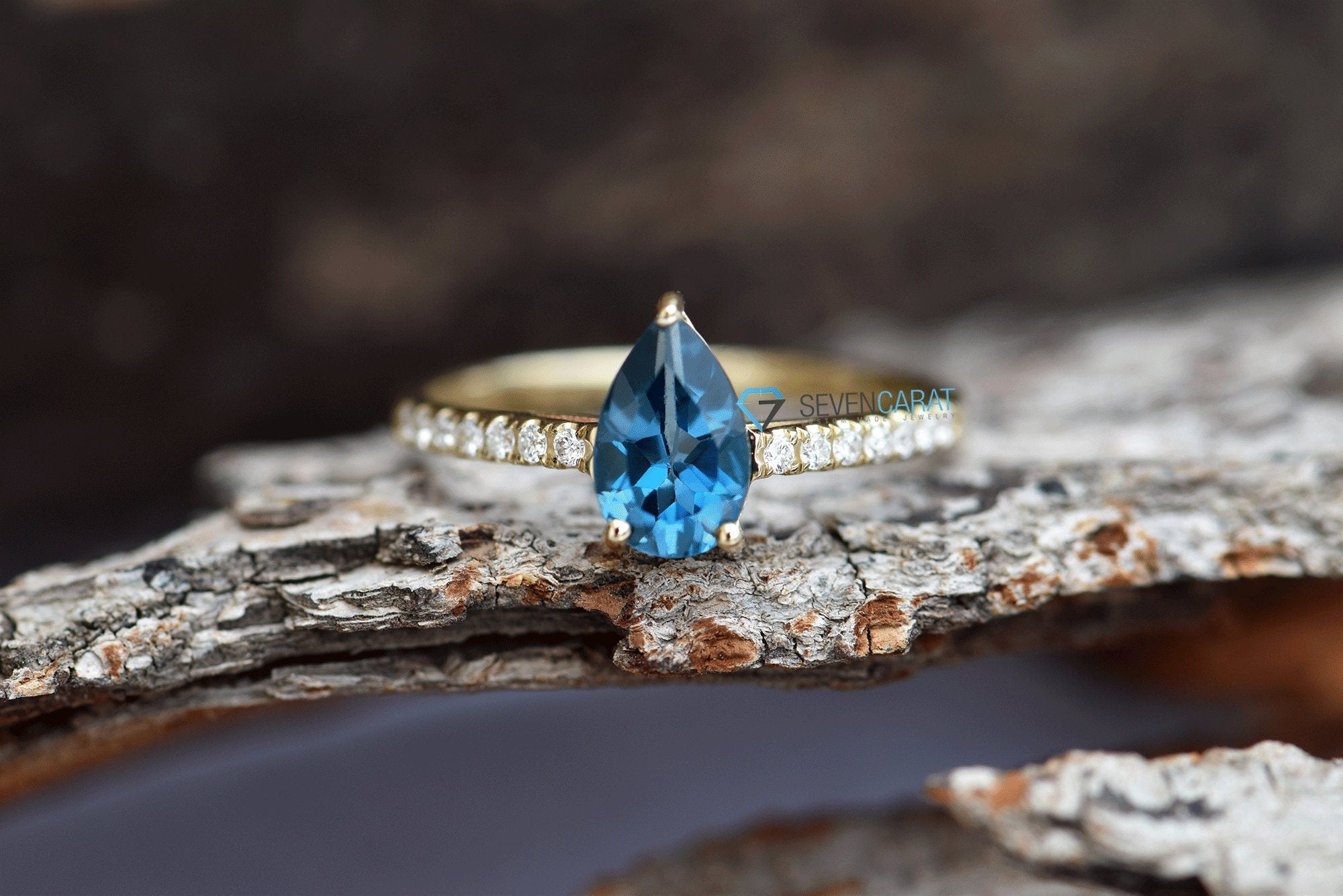 Branch ring-Engagement ring-Blue topaz ring-Twig engagement ring-Blue topaz band ring-Dainty Promise Ring-Nature ring-Blue topaz promise