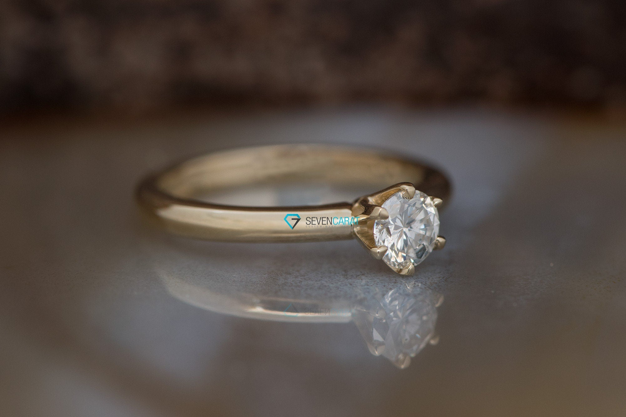 Classic round engagement ring-Solitaire diamond ring-Solitaire 6 prong-Solitaire ring 0.50 ct