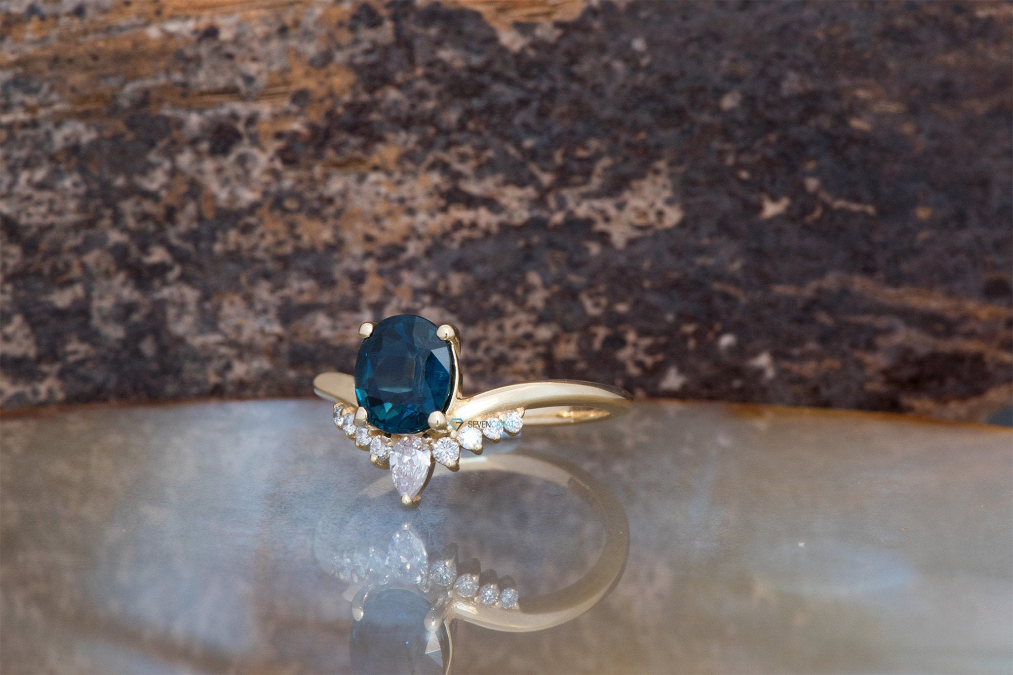 Unique sapphire engagement ring-Blue Sapphire engagement ring-1.5 ct Oval Blue Sapphire Engagement Ring-Anniversary ring-ON SALE !!! -