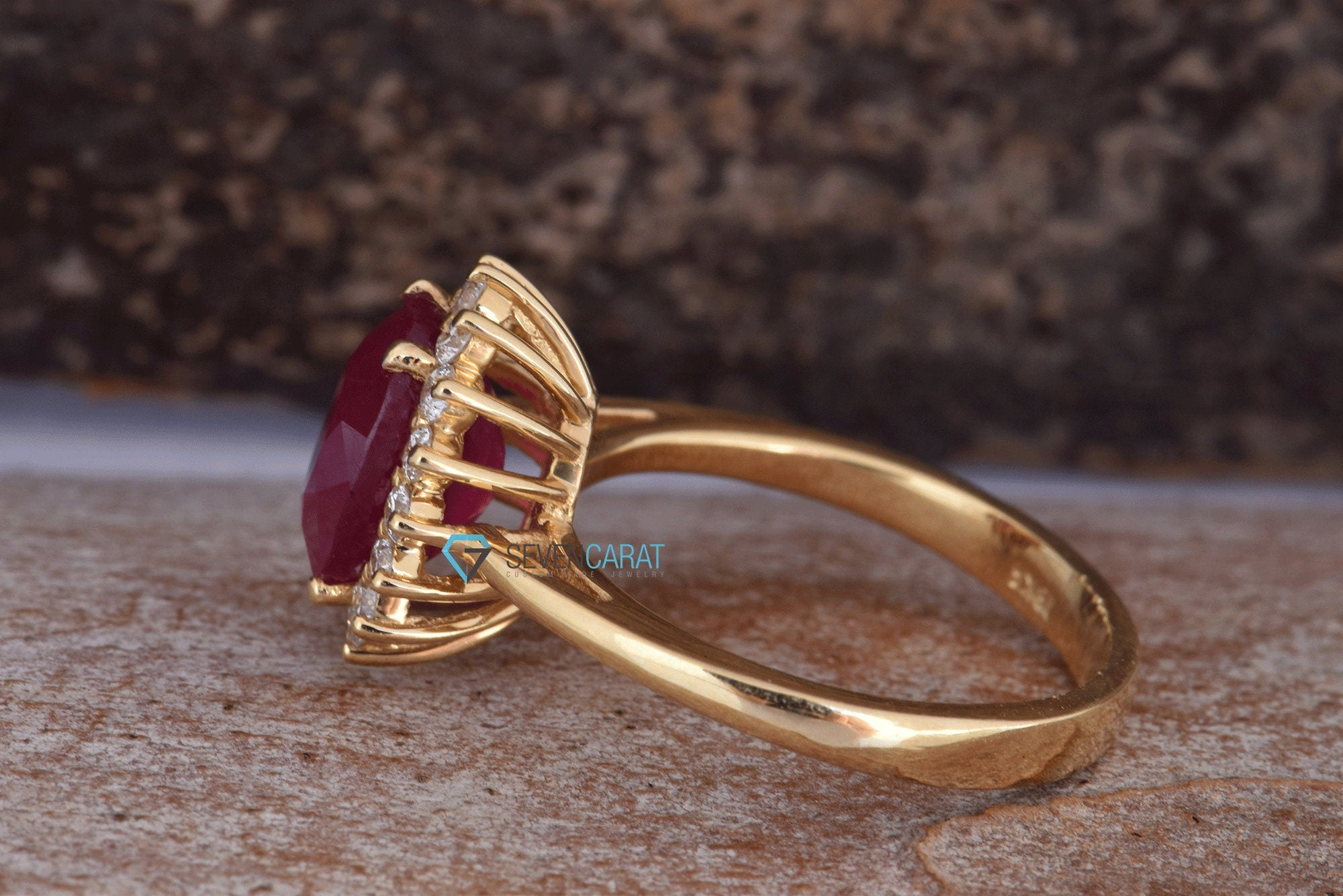 3 carat oval Ruby diamond ring with Ruby-ON SALE!!! -Engagement Ring-Ruby engagement ring-Multistone ring - SevenCarat