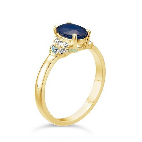 Blue Sapphire Diamond Engagement Ring-Yellow Gold Ring-Sapphire  Engagement Ring -Anniversary present-promised ring - SevenCarat