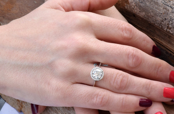 Diamond Engagement Ring-ON SALE!!!1.46 ct White Gold Ring-Engagement Ring-Promise ring-Halo diamond engagement ring - SevenCarat