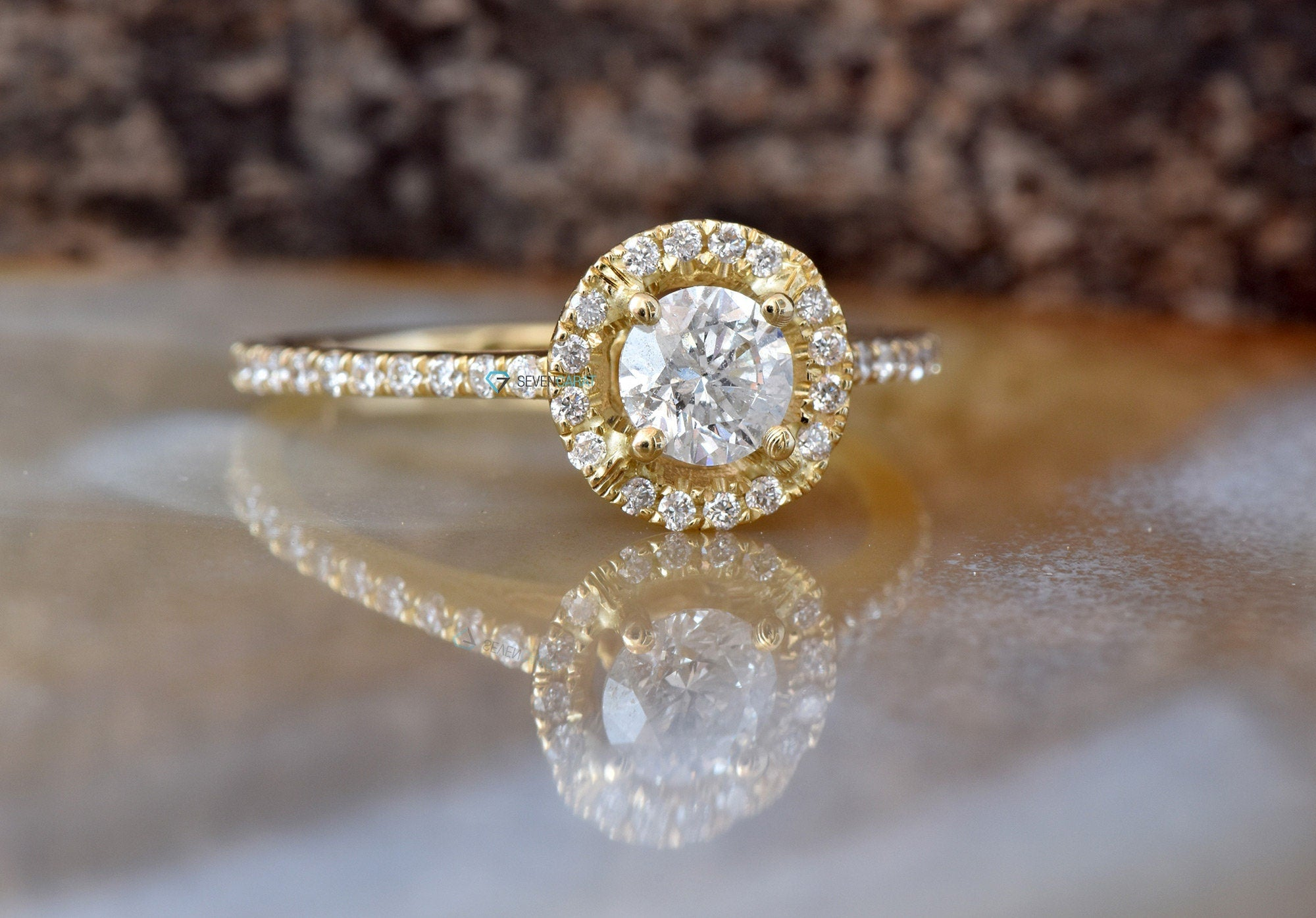 Halo Diamond Engagement Ring 1.50 ct-Yellow Gold Engagement Ring-Cluster engagement ring-Promise ring-Bridal ring - SevenCarat