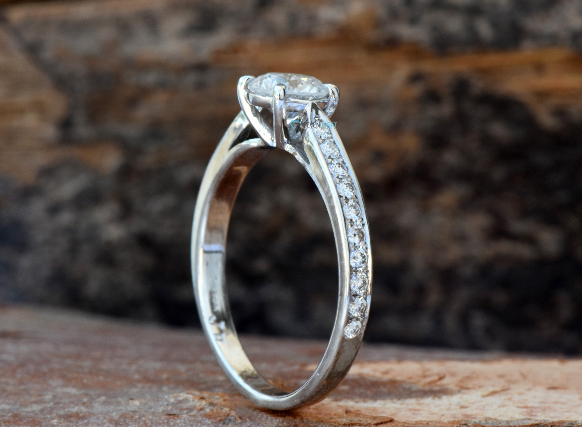 ON SALE 1 carat diamond ring !!!White Gold Engagement Ring -Diamond Engagement Ring -White Gold Ring-Art deco engagement ring - SevenCarat