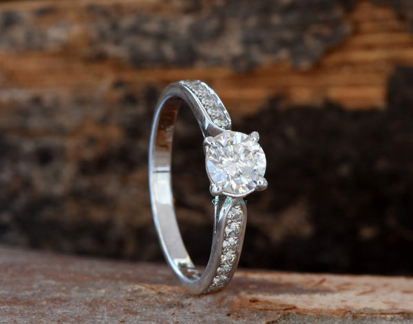 1 carat diamond engagement ring-Round engagement-Dainty ring-White Gold Engagement Ring-Art deco engagement ring - SevenCarat