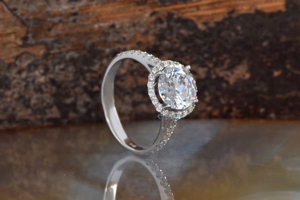 2.5 carat engagement ring-Halo diamond engagement ring-Solid gold rings-Round halo-Halo wedding ring-Round diamond ring-large gold ring