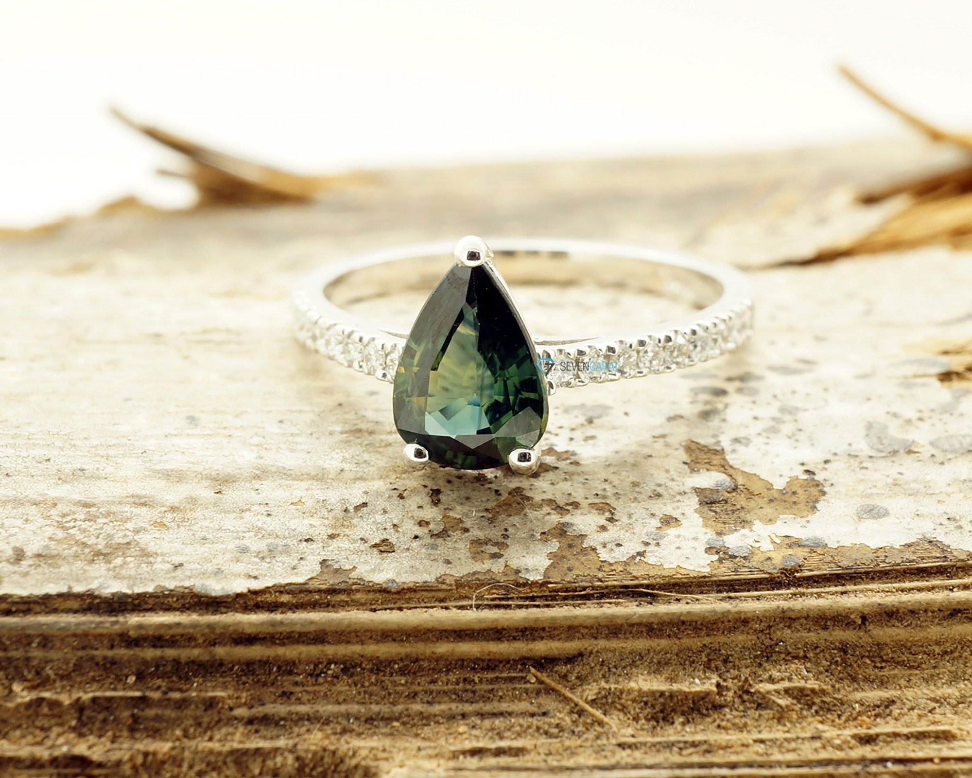 Green Sapphire Diamond Engagement Ring -White Gold Ring-Sapphire  Engagement Ring -Pear shaped sapphire-Promised ring - SevenCarat