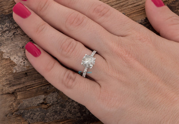 2 carat salt & pepper diamond-Salt and Pepper diamond engagement ring-4 prong solitaire ring-Promise ring-2 ct diamond-Salt and pepper ring - SevenCarat