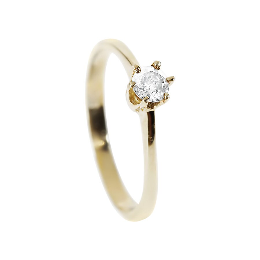 Gold Solitaire Ring-Classic round engagement ring-Solitaire diamond ring-Solitaire 6 prong-Solitaire ring 0.20 ct-Solid gold rings for women