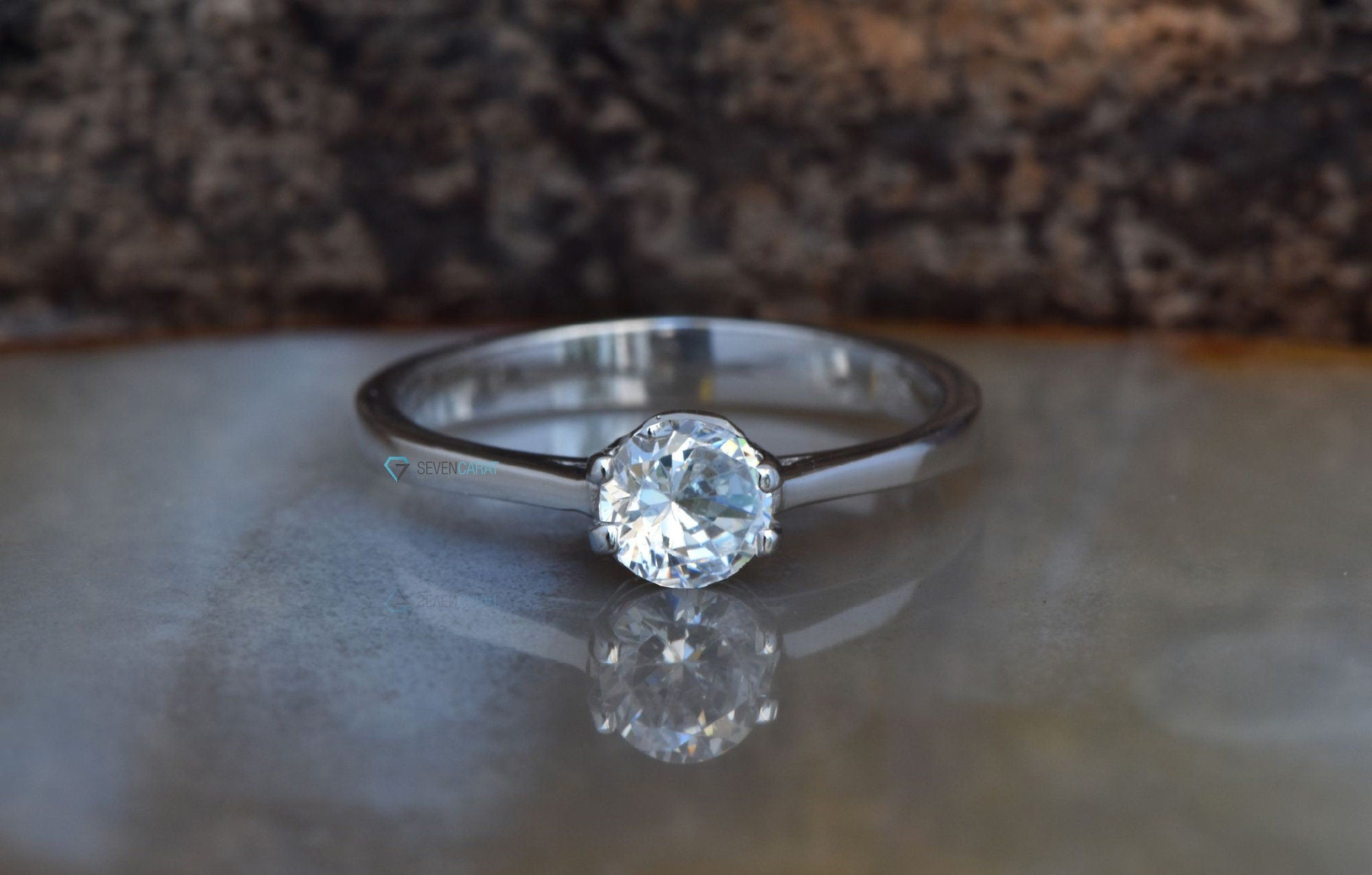 Solitaire diamond ring-Engagement ring-Cluster engagement ring-0.70 ct diamond-4 prong solitaire ring-Promise ring-Gold Solitaire Ring