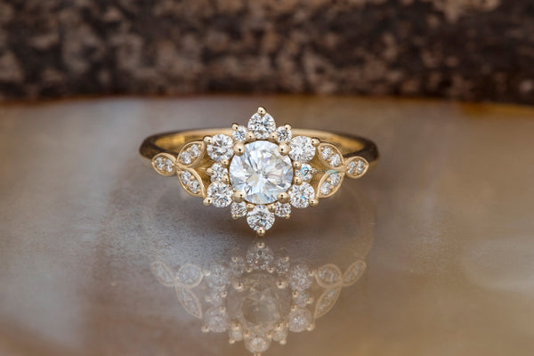 1 carat flower diamond ring-Art deco Engagement Ring-Flower engagement ring -Promise ring-Leaf ring-Custom Ring