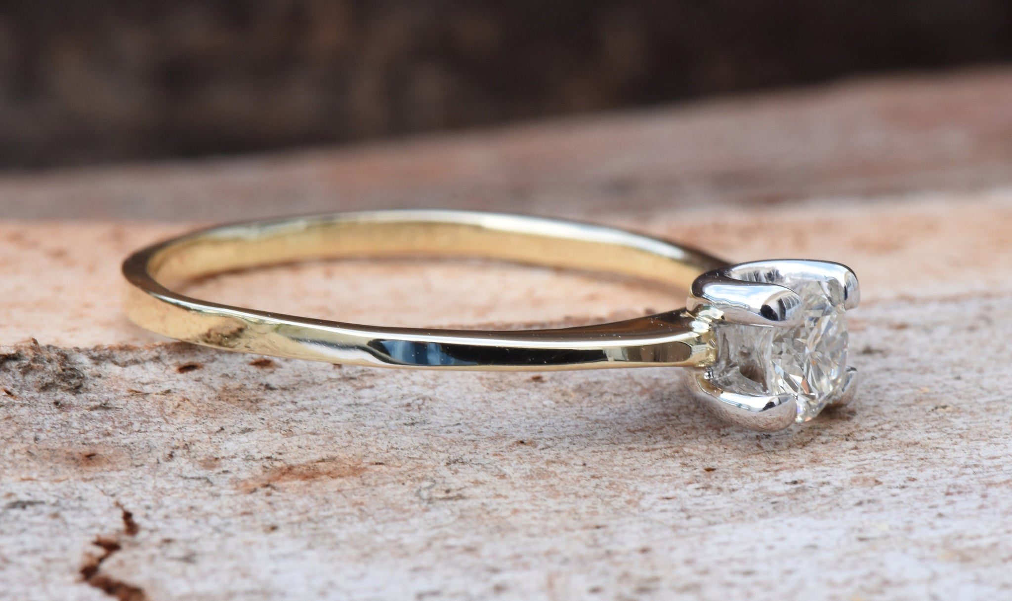 Gold Solitaire Ring-Solitaire ring-0.40ct Engagement Ring-Promise ring-Art deco ring-Custom Ring-Bridal ring-Solid gold ring-Branch ring