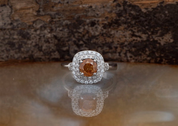 Fancy diamond ring-Vintage engagement ring-1.5 Carat Diamond engagement ring-Orange diamond ring-Natural fancy color-Round halo ring