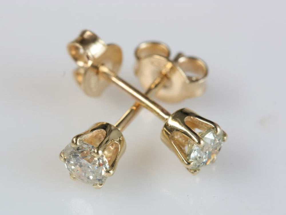 Gold Diamond Earrings 0.5 Carat-14K Yellow Gold-Stud Earrings-Women Jewelry-graduation gift - SevenCarat