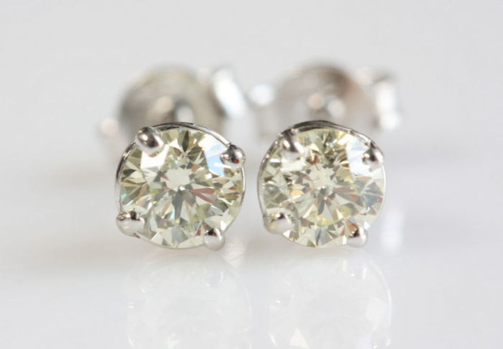 Tiny Stud Earrings-Gold  Earrings with Zirconia -14K White Gold Earrings-Stud Earrings-Women Stud Earrings - SevenCarat