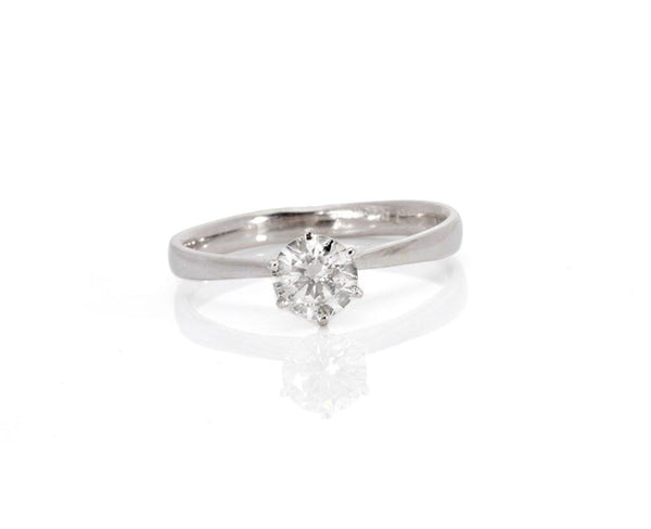 Diamond Engagement Ring-Solitaire ring- Solitaire diamond ring-14K White Gold Ring-Promise ring