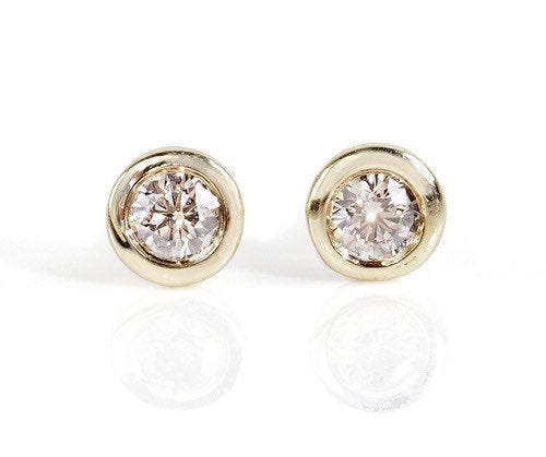 Art deco earrings-Diamond stud Earrings- Gold Earrings-1/2 carat diamond Earrings-Solitaire diamond earrings - SevenCarat