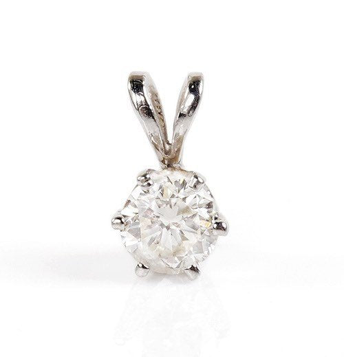 Diamond Pendant 0.30 Carats-White Gold Necklace 14K-Art deco necklace-Women Jewelry-For her - SevenCarat