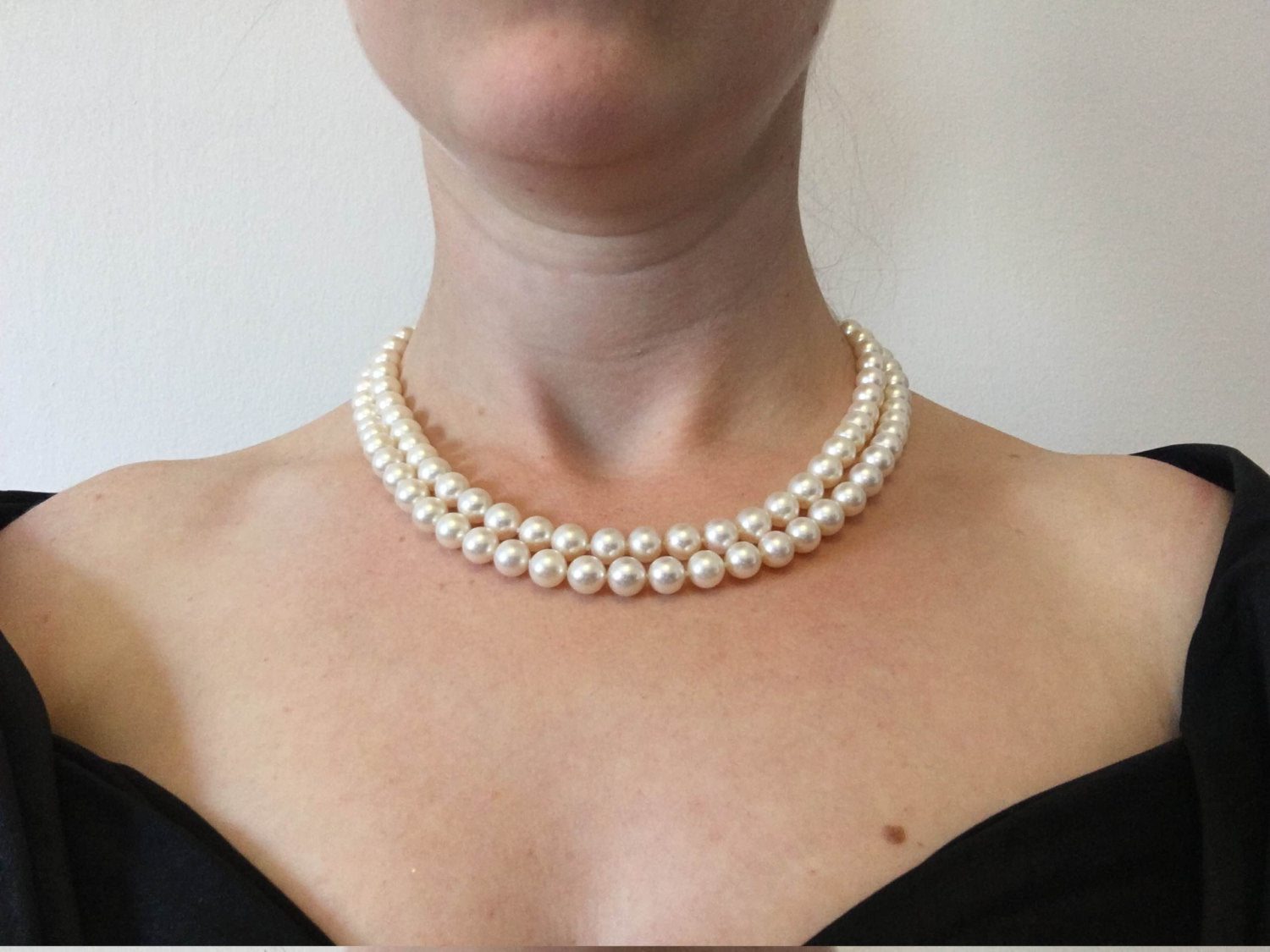 Freshwater Pearl Necklace-Double Wrap Pearl Necklace-Pearl Jewelry-Anniversary Gift-Pearl necklace wedding