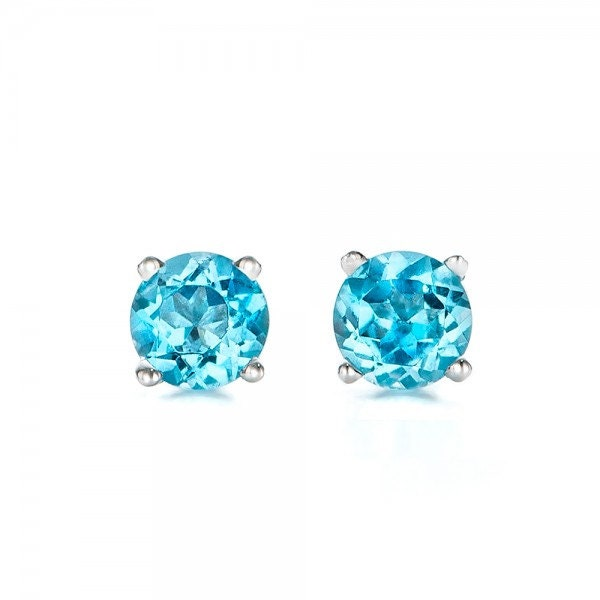 1 carat blue topaz earrings studs-Blue topaz-Natural blue topaz stud earrings-14 k white gold earnings-Birthday present