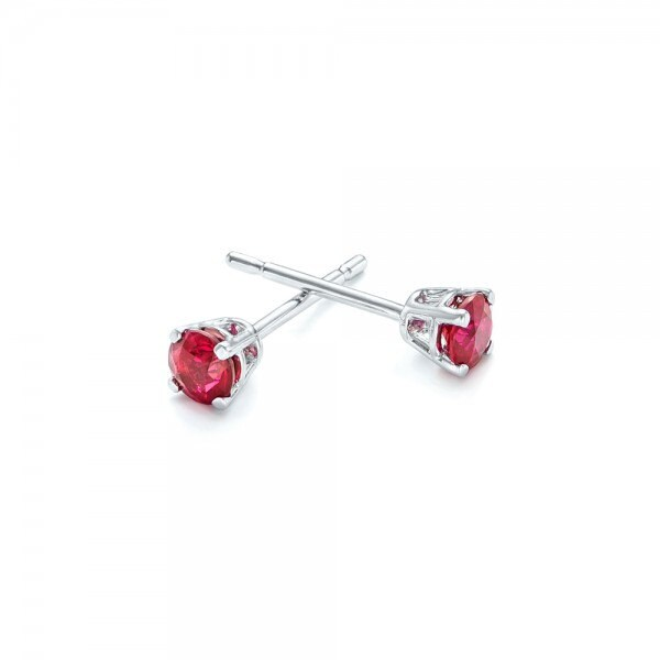 Ruby stud earrings 1 carat -Red ruby-Handmade Ruby stud earrings-14 k white gold earnings-Natural  Ruby - SevenCarat