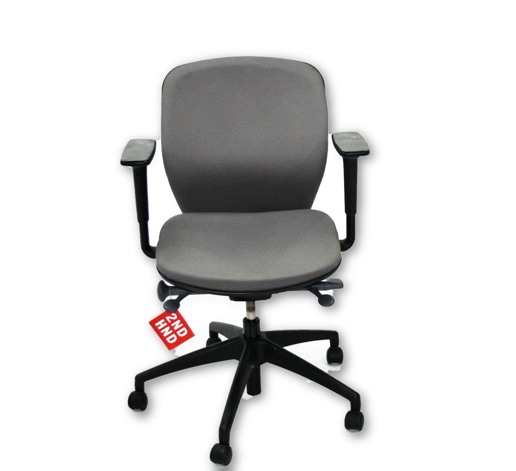 Orangebox Joy Black and Chrome Operators Chairs New Grey Fabric