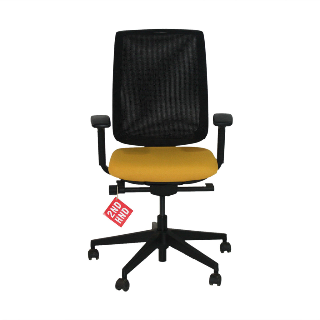 Steelcase Reply Task Chair Yellow New Fabric ( Black Base )