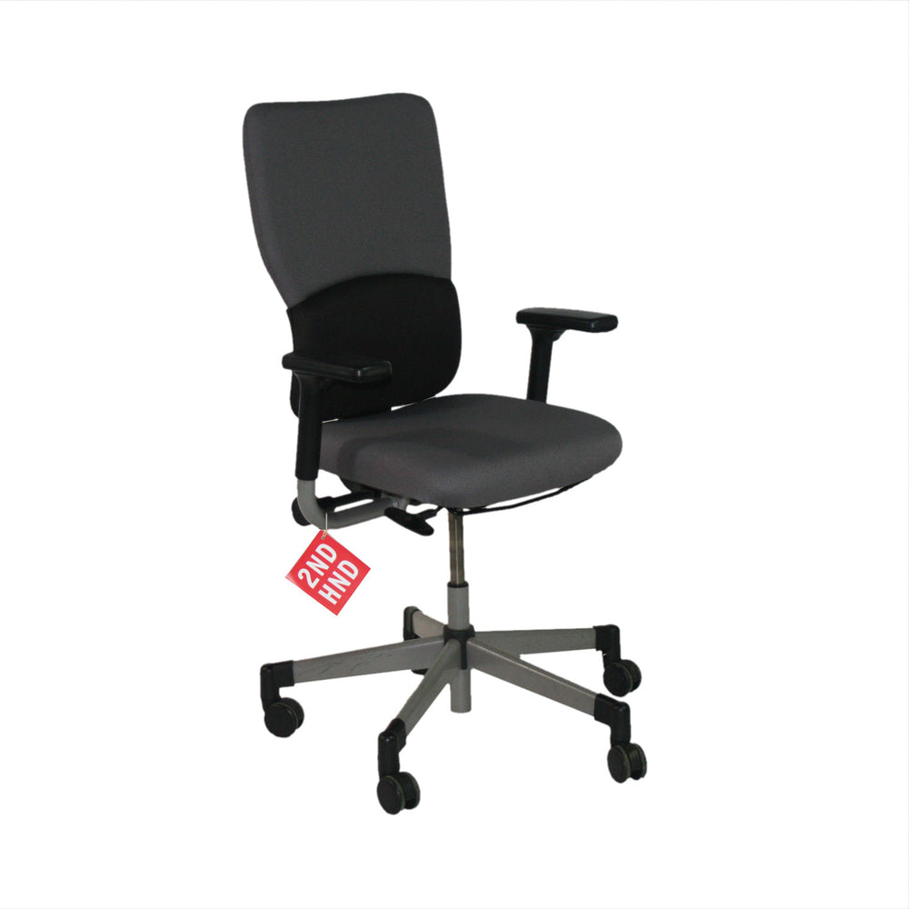Steelcase Lets B Hi Back Task Chair with Arms (Recovered Grey Fabric)