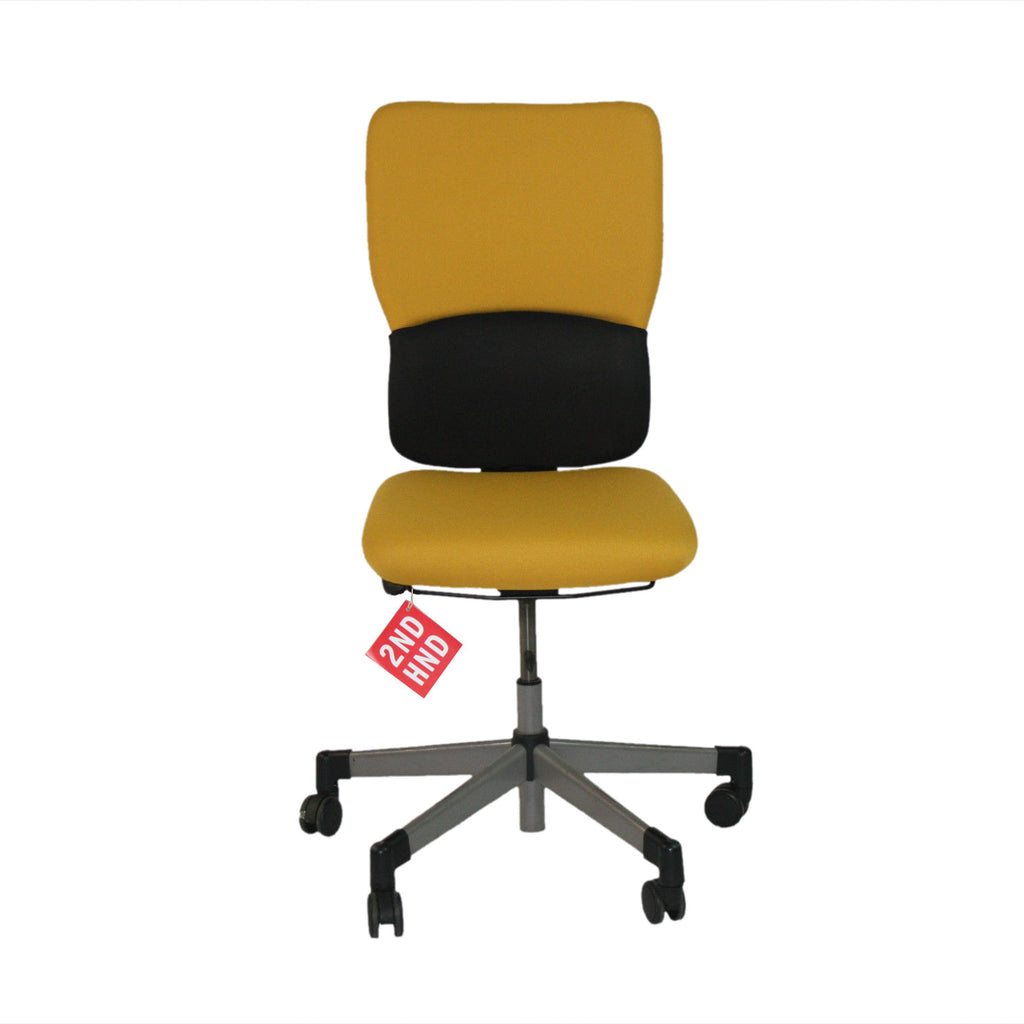 Steelcase Lets B Hi Back Task Chair No Arms ( New Yellow Fabric) ...