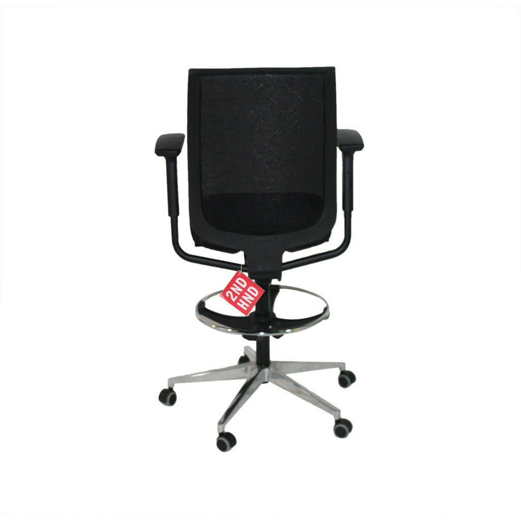 Steelcase Reply Draughtsman Chair Black New Fabric ( Polished Aluminium Base )