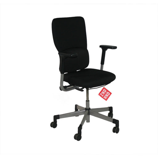 Steelcase Lets B Hi Back Task Chair with Arms (Recovered Black Fabric)