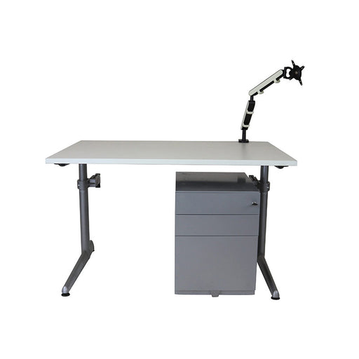 Ahrend Height Adjustable Desk + Herman Miller Pedestal + Z1 Monitor Arm (White)