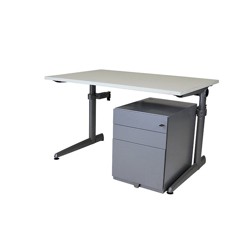 Ahrend Height Adjustable Desk + Herman Miller Pedestal
