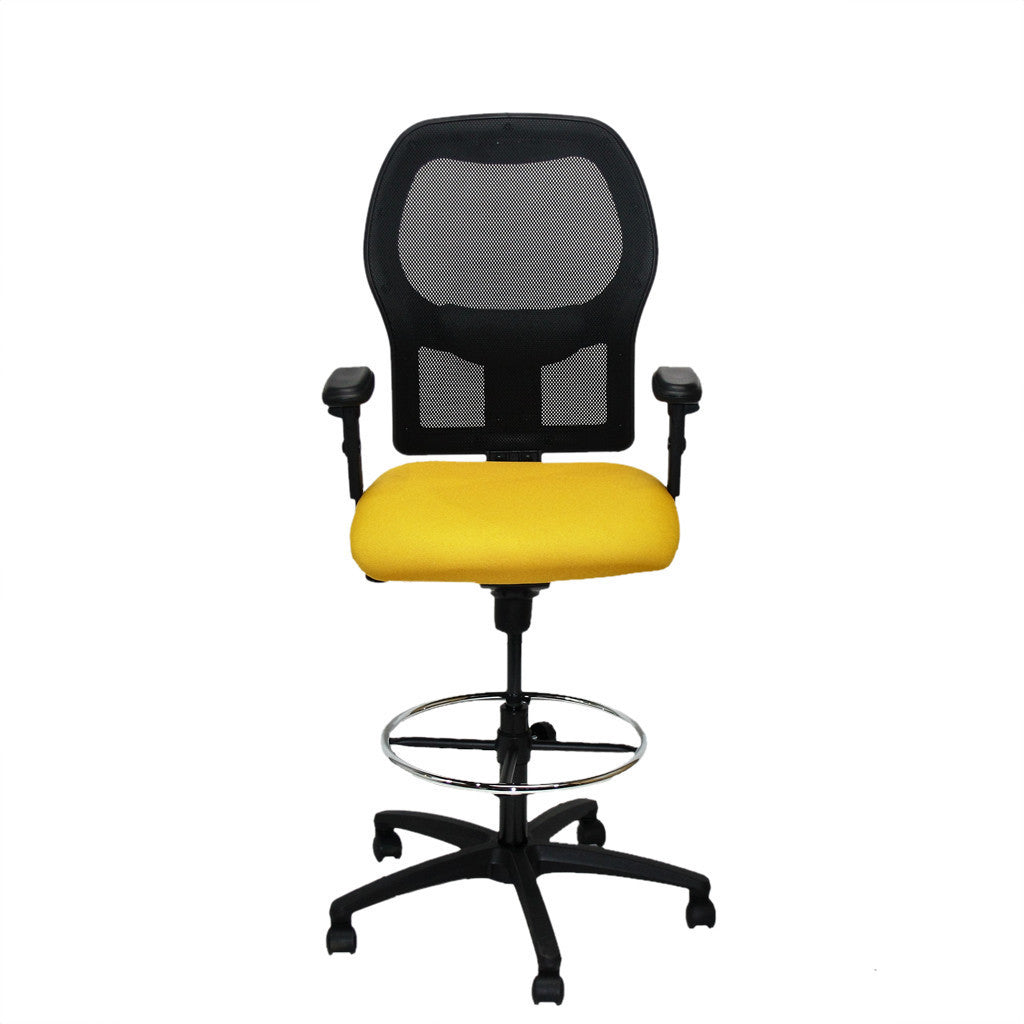 Ahrend 160 Type Draughtsman Chair with yellow fabric seat