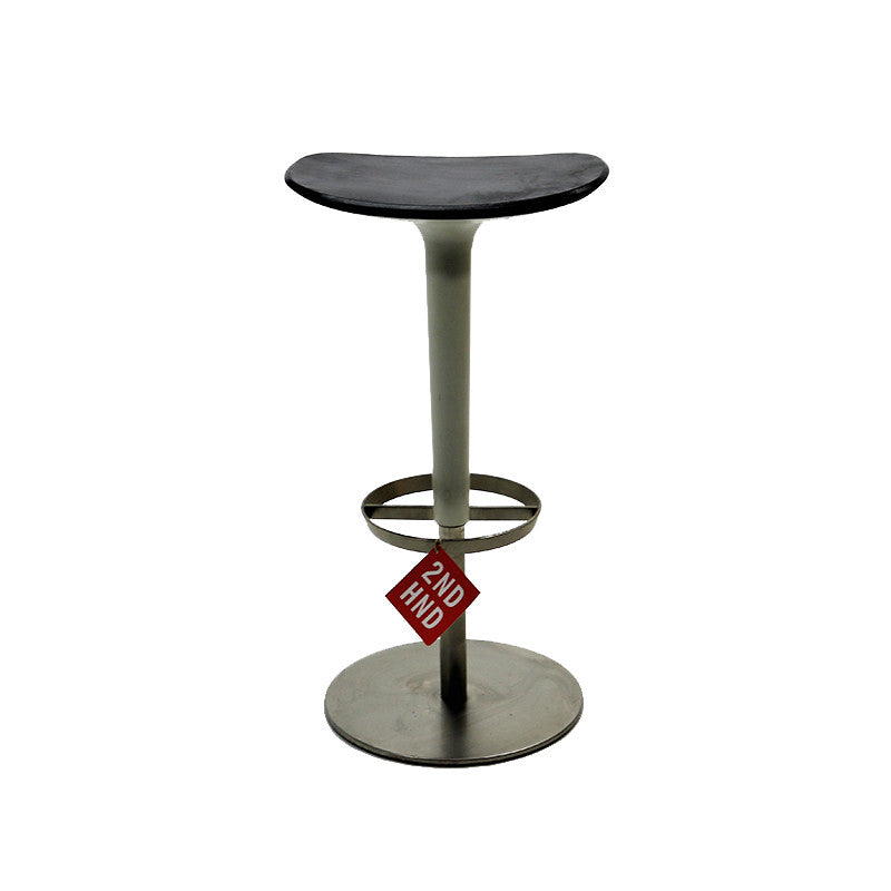Babar Bar Stool - White Column - Black Seat