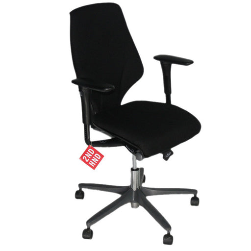 Giroflex G64 chair with painted base in new black fabric