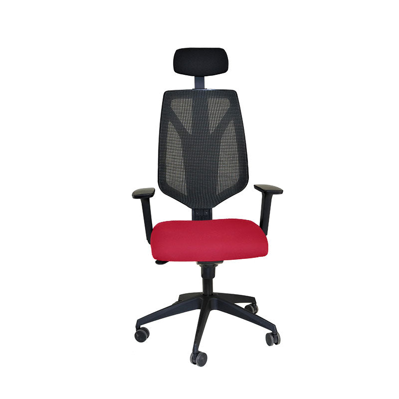 Global 1966 Task Chair with Headrest & Red Seat ( New Chair)