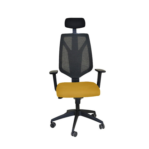 Global 1966 Task Chair with Headrest & Yellow Seat ( New Chair)